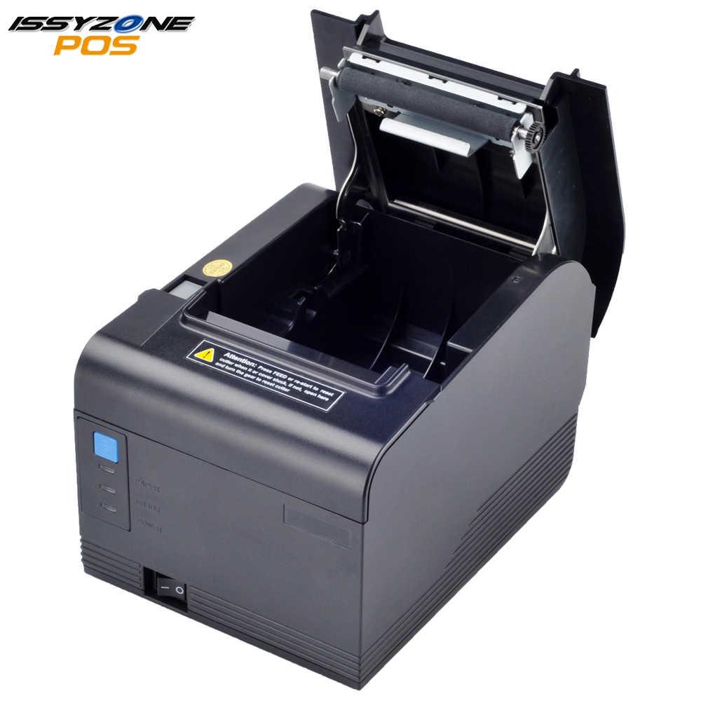 Impresora de recibos térmicos IssyzonePOS impresora de código de barras de cocina de corte automático de 80mm compatible con ventanas de impresión de logotipo de cajón de efectivo