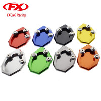 FX CNC Motorcycle Kickstand Sidestand Side Stand Extension Plate Pad Aluminum For KAWASAKI VERSYS 650 KLX250
