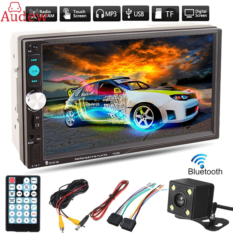 7 Inch TFT Car Audio Stereo Touch Screen 2 Din MP5 Player with Rearview Camera Bluetooth V2.0 Hands-free Call AUX TF USB FM car mp5 player with rearview camera gps navigation 7 inch touch screen bluetooth audio stereo fm function remote control