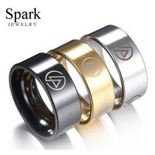 SPARK New 8mm Gold/ Steel/Black Color High Polished Rings Linkin Park Band Stainless Steel Ring For Men Party Gift(China)