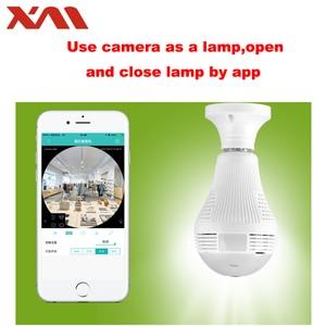 Image 3 - Fisheye caméra de surveillance intérieure IP WiFi HD, dispositif de sécurité domestique, panoramique 360 degrés, ampoule E27, Vision nocturne