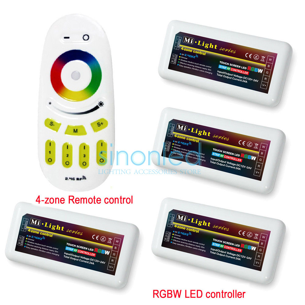 Free shipping Remote+4x RGBW LED Controller group control 2.4Ghz 4-Zone Wireless RF Touch remote For RGBW 5050 3528 Led Strip mi light wifi controller 4x led controller rgbw 2 4g 4 zone rf wireless touching remote control for 5050 3528 led strip
