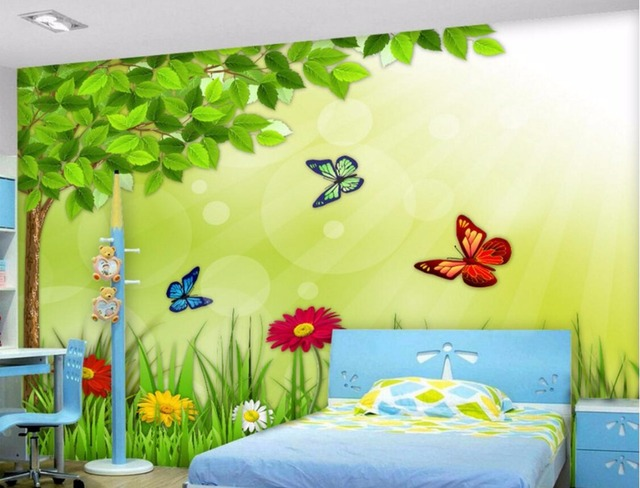 3d Wallpaper Custom Photo Mural Flower Butterfly Kids Room Painting Picture  3d Wall Murals Wallpaper For Walls 3 D Living Room