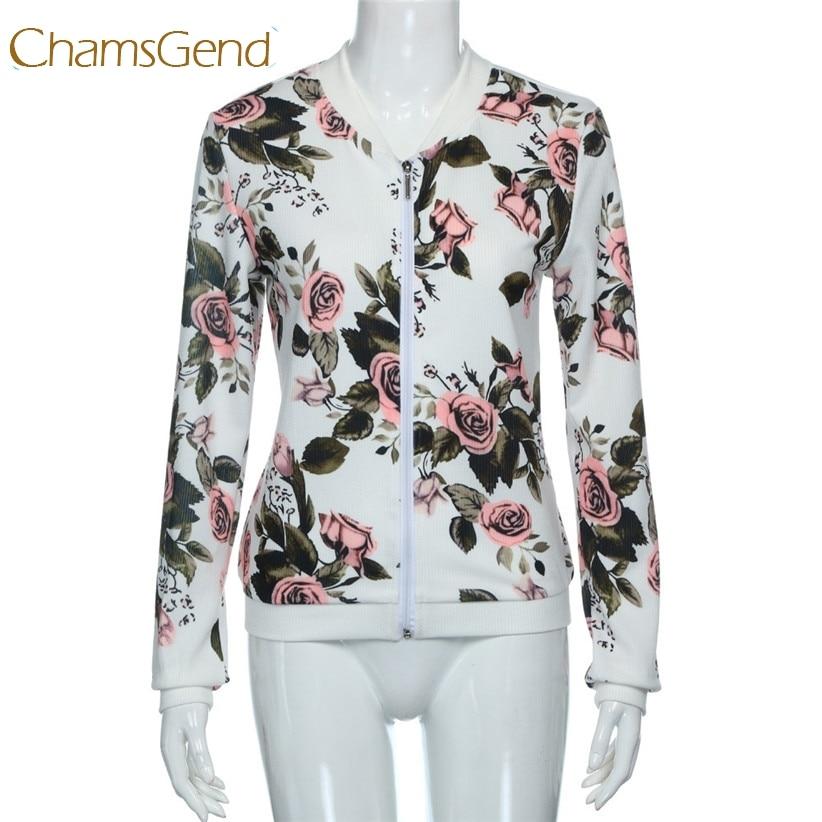 Chamsgend Women   Basic     Jacket   2017 New Rose Flower Zipper Bomber   Jacket   Baseball Short Coat White Chaquetas Biker Outwear 170713