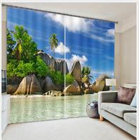 Beach stone Luxury Blackout 3D Window Curtain For Living Room office Bedroom Drapes Cortinas Rideaux Customized size pillowcase