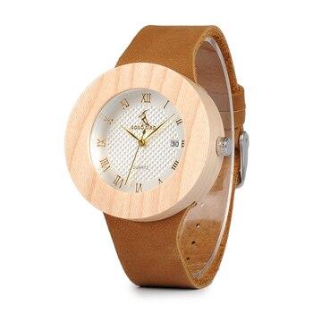 Reloj de madera pino vintage pulso cuero