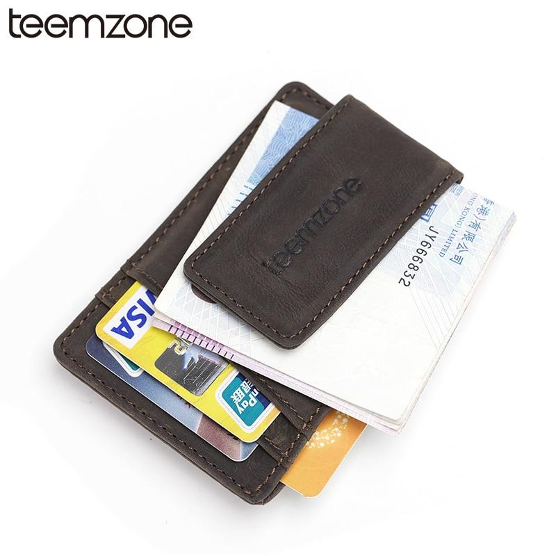 teemzone Crazy Horse Heren Echt Creditcard ID Houder met Sterke - Portemonnees en portefeuilles