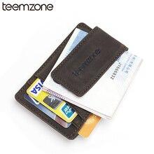 teemzone Мужская сумасшедшая лошадь Подлинная кредитная карточка ID Держатель с сильным магнитом Деньги Клип Кошелек карты Кошелек Черный держатель карты K308