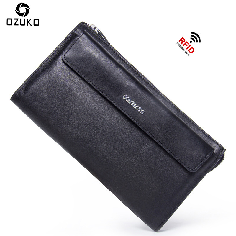 OZUKO 2018 Large Capacity Genuine Leather Men's Wallet Long Purse Fashion Business Clutch bag Male Casual Card Holder Coin Purse genuine leather men business wallets coin purse phone clutch long organizer male wallet multifunction large capacity money bag