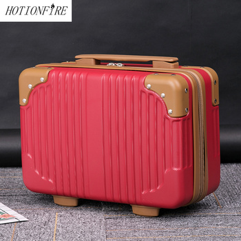 Women Bag Fashion Light Suitcase 14 Inches Mini Zipper Lady Business ABS Cosmetic Bag Suitcase For Makeup Bag Toiletry Bags