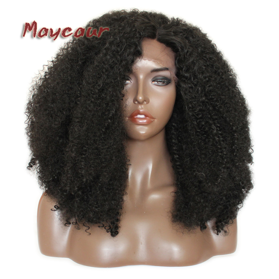 Black Hair 180% Density Afro Curly Lace Wigs 24 Inch Glueless Heat Resistant Synthetic Lace Front Wigs For Black Women