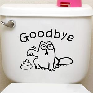 funny black cat toilet seat wall sticker bathroom car tank window home decor cartoon animal say goodbye decals vinyl mural art(China)