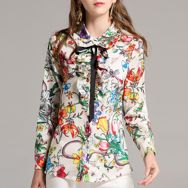 Haute qualité 2019 Blouses de Designer de piste femmes à manches longues volants marque chemise Blouses Floral imprimé chemise