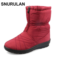 SNURULAN Plus Size Waterproof Flexible Cube Woman Boots High Quality Cozy Warm Fur Inside Snow Boots