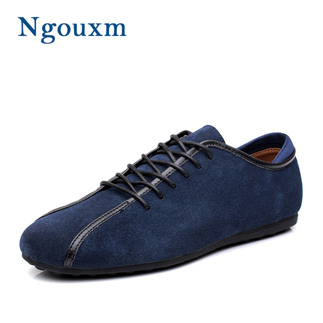 Ngouxm Men Casual Shoes Man Spring Autumn New Fashion Lace Up Male Flat  Comfortable Navy Blue Suede Leather Loafers Sneakers fb51bdd056b0