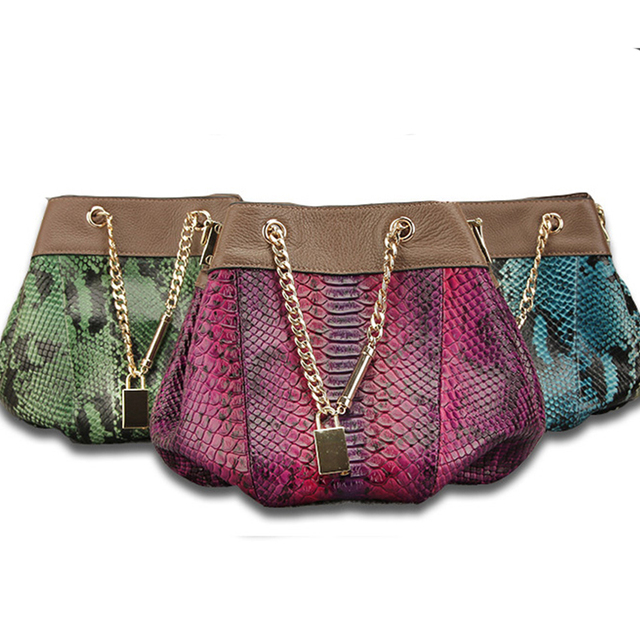 7eb29b3f051c 100% Genuine Leather Women Bags Designer Small Drawstring Bucket Bag python  Snake Print Real Leather Crossbody Shoulder Bag