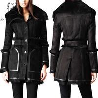 Зимняя куртка женские овец натуральная кожа пальто с мехом пикантные черные однобортный с длинным feminino натуральный Мех животных integrated курт