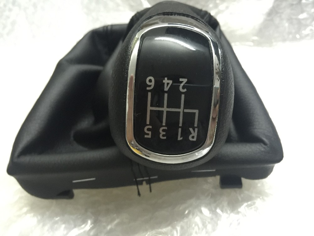 FAT Gear Shift Knob II 09-12 SUPERB II 08-12 09-12 MK2 II 2 Leather Boot 6 Gear สำหรับ Skoda Superb 3 T MKII (08-13)