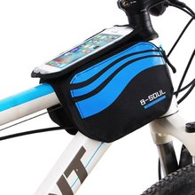 B-SOUL Bicycle Frame Saddle Bag Bike Storage Bag for 5/5.7 Inch Mobile Phone Screen Touch Holder for Outdoor Riding