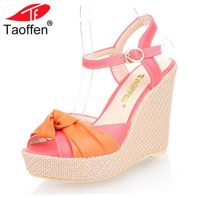TAOFFEN Lady Wedge Sandals Shoes Women High Heels Shoes Open Toe Platform Cross Strap Woman Shoes Footwear Size 32-43 PA00720 taoffen women high platform shoes patent leather star lady casual fashion wedge footwear heels shoes size 33 48 p16184