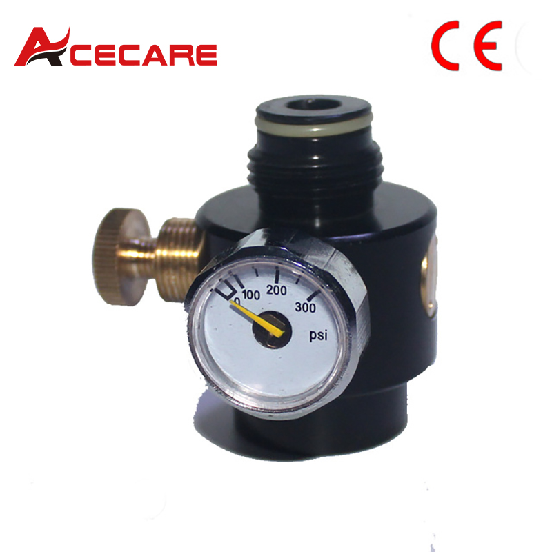 Airsoft PCP Paintball Tank Cylinder Adjustable Compressed Air Regulator Output Pressure 0-300psi 0.825-14NGO ThreadAirsoft PCP Paintball Tank Cylinder Adjustable Compressed Air Regulator Output Pressure 0-300psi 0.825-14NGO Thread