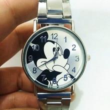 Modern Fashion Silver Mickey Mouse Quartz Watch Women Mesh S