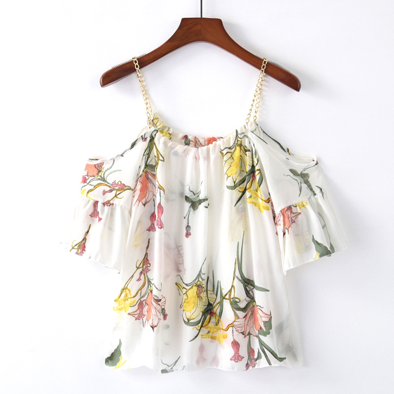 NANABUBU Fashion Ruffles Sleeve Chiffon Blouse Off Shoulder Top Women Tops Summer Slash Neck Floral Printed Loose Women Blouses ...