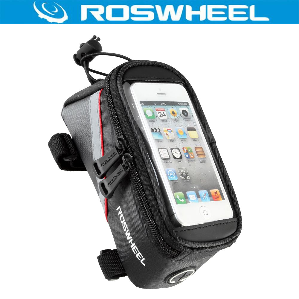 ROSWHEEL OUTDOOR WATERPROOF CYCLING MOUNTAIN ROAD <font><b>BIKE</b></font> BICYCLE FRAME IPHONE HOLDER PANNIER MOBILE PHONE <font><b>CASE</b></font> BAG POUCH PACKAGE image