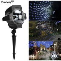 Tanbaby LED Snowflake Projector Light Waterproof Snowfall Lamp With Remote Xmas Halloween Festival Holiday Outdoor Decoration