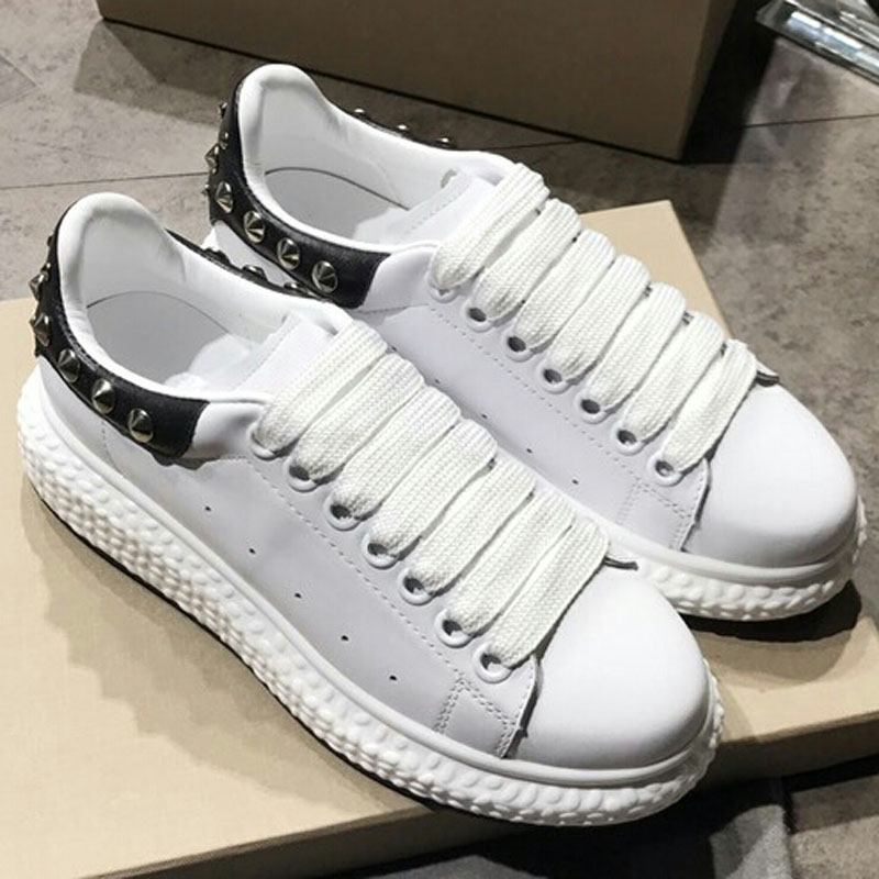 Sneakers as Casual Appartements Élégant Rivets As Pic Avant Embelli Blanc Hot Sapato Feminino Marque Pic Chaussures Lacent Femme SwqxFFEBa