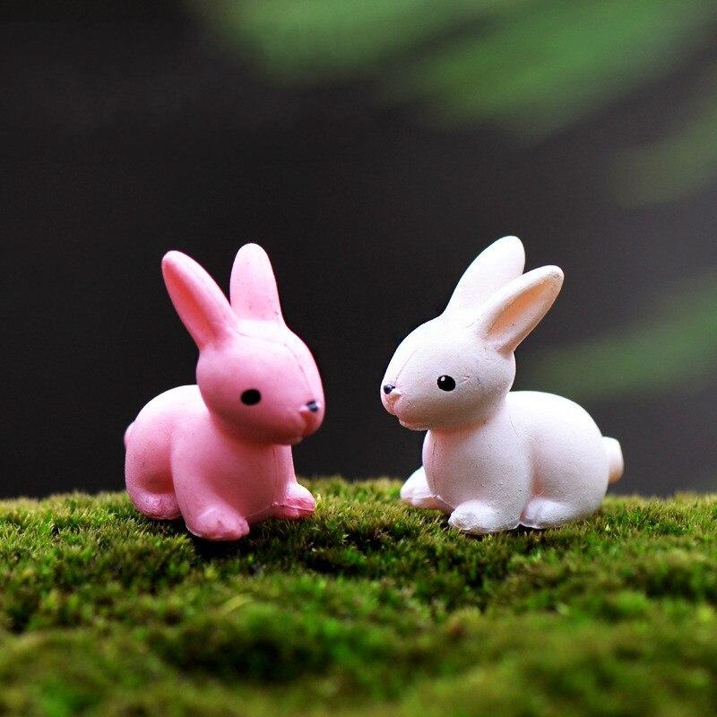 1Pcs Rabbit Bunny Cute DIY Resin Fairy Garden Craft Decoration Miniature Micro Gnome Terrarium Gift F0089