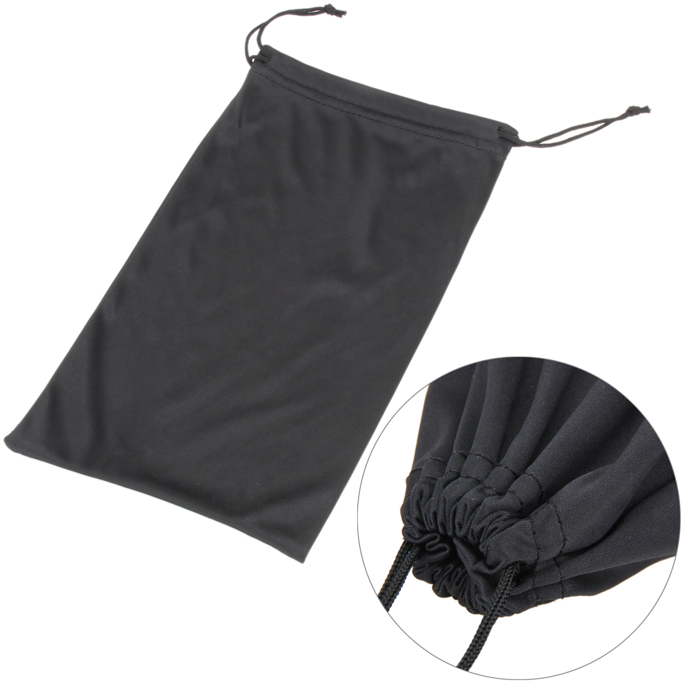 1Pc Portable Soft Waterproof Nylon Plaid Cloth Sunglasses Bag Solid Black Color Dustproof Glasses Pouch Eyewear Bag Glasses Case