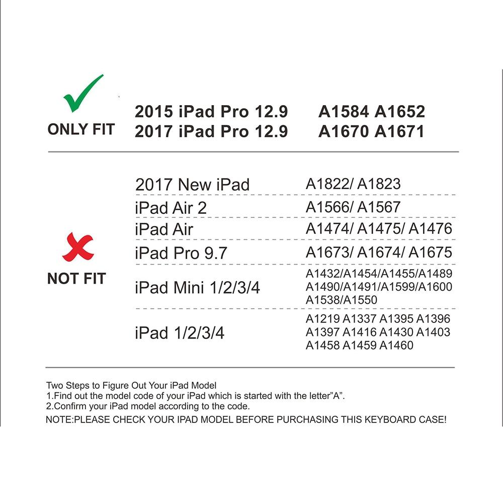 Aluminium Bluetooth Tastatur Fall für iPad Pro 12,9 Modell A1584/A1652/A1670/A1671 Slim Schutzhülle mit 7 farben Backlit - 3