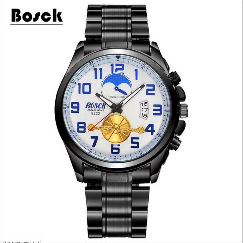 Luminous moon phase men's watch waterproof steel watch hollow tourbillon automatic mechanical watches patek philippe sky moon tourbillon в самаре