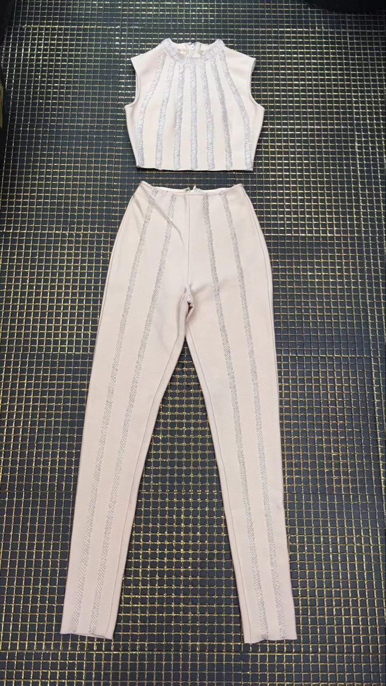 Vêtements De Qualité Tops 2 Beige Pièces Pantalon Bandage Sexy Femmes Crop Rayonne Top Perles Ensemble wxq6xp