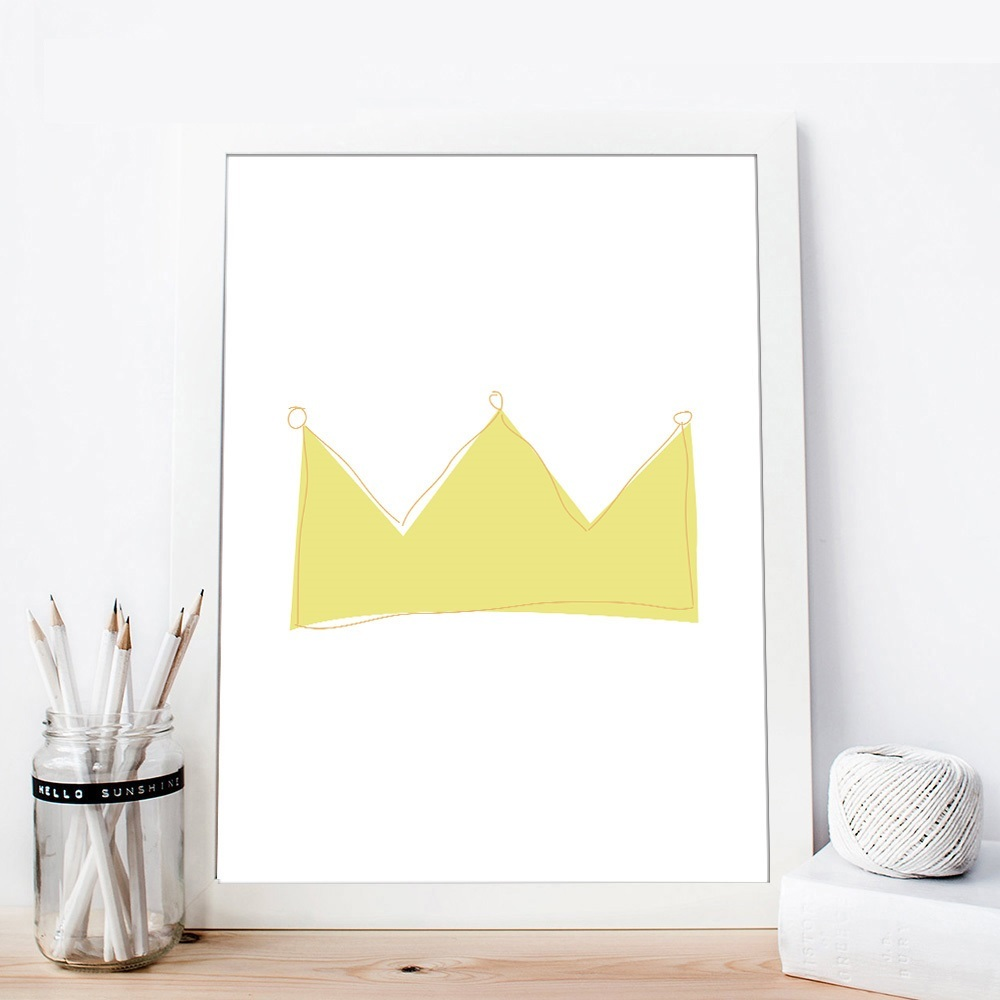 Cartoon Crown Nursery Quote Wall Art Canvas Posters Prints ...