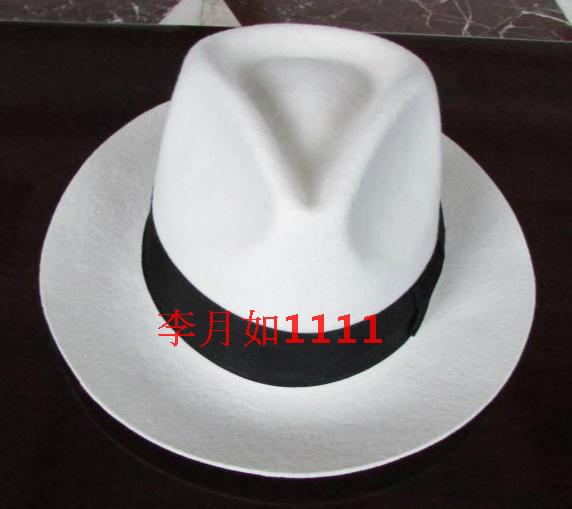 Boy's Accessories Energetic White Authentic Hat Black Contrasting Woolen Fedoras Cap Elegant 100% Wool Vintage Cowboy Cap Jackson Wool Hat White B-8139 To Have Both The Quality Of Tenacity And Hardness