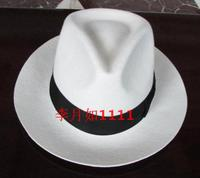 White Authentic Hat Black Contrasting Woolen Fedoras Cap Elegant 100% Wool Vintage Cowboy Cap Jackson Wool Hat White B 8139
