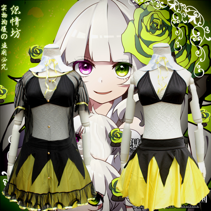 New ningyou aizou ga ru Sexy Women Cosplay Costume Japanese Transparent Bikini Maid COS Costumes with Long Lolita Cosplay Wig