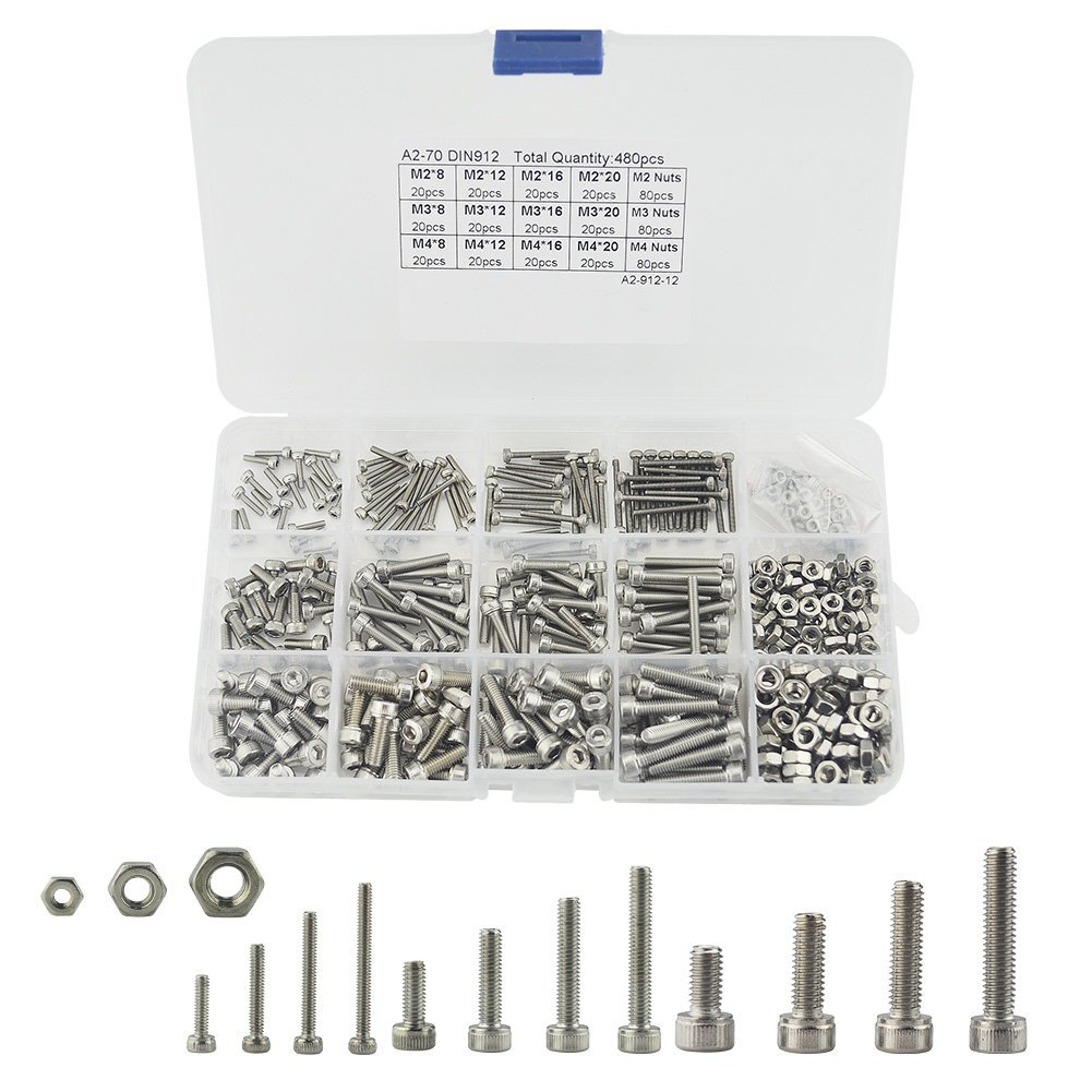 480pcs Bolts Hex Socket Head Cap Screws Nut Kit Set M2 M3 M4 Stainless Steel For Home Appliance Screws With Nuts Assortment Kit