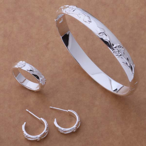 AS060 Hot 925 sterling silver Jewelry Sets Ring 245 + Bangle 086 + Earring 218 /acqaitxa ajdajaka