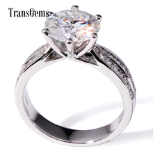 TransGems 3 Carat F Colorless Moissanite Wedding Engagement Anniversary Ring with Diamond Accents in 14K White Gold for Women