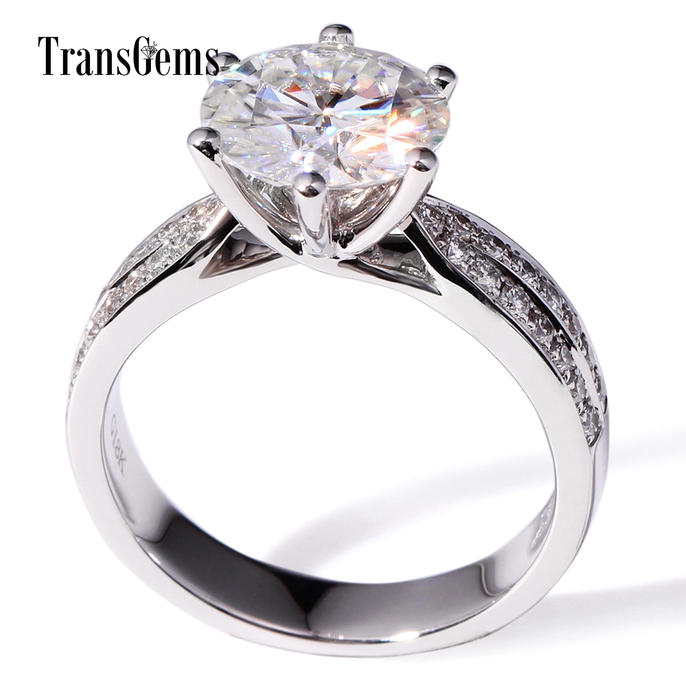 Transgems 14k White Gold 3 carat Diameter 9mm F Color moissanite Engagement Ring For Women Solitare with accents цены онлайн