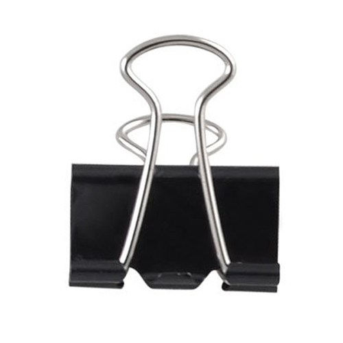 12pcs Metal Clips Paper Clip 25MM Office Learning School Supplies Stationery Binding Supplies Files Documents Black Binder Clips