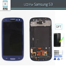 LCD Display With Frame Bezel for Samsung Galaxy S3 SIII i9300  i9305 i747 i535 LCD Display Touch Screen Glass Digitizer Assembly