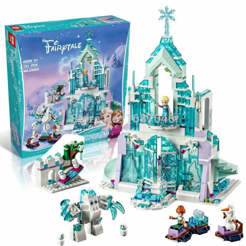 Elsa's Magical Ice Castle Princess Palace Toys DIY Building Brick Toys Girls Birthday Gift Compatible 41148 hot fairy tale princess snow queen elsa magical ice palace building block anna castle bricks olaf figure lepins brick 41148 toys