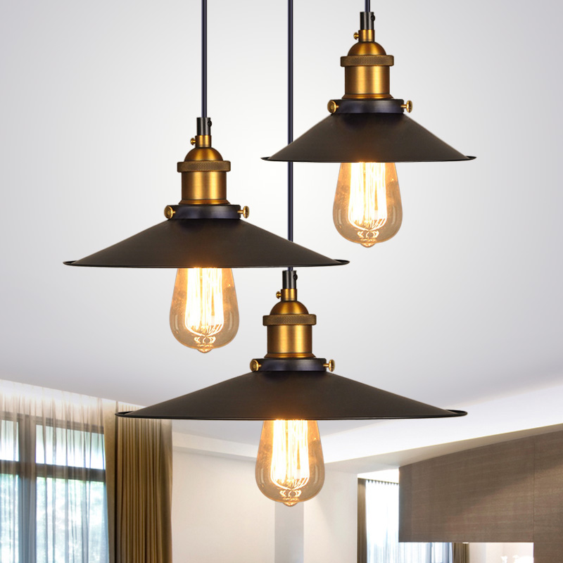 YNL Black vintage industrial pendant light Retro iron lampshade loft Pendant Lamp E27 Creative Creative Dining Room Lamp glossy copper vintage industrial loft pendant light fixture retro e27 holder fabric wire pendant light for dining room diy lamp