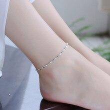 TJP Exquisite Silver Anklets For Women Party Jewelry Fashion Oval Balls 925 Girl Bracelets Princess Bride Bijou