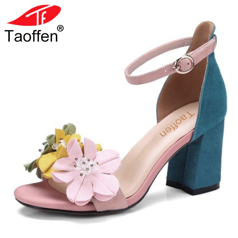 TAOFFEN Women Real Leather High Heel Sandals Flower Ankle Strap Sandals Summer Daily Club Shoes Women Footwear Size 34-39 taoffen women high heels sandals real leather peep toe shoes women buckle clear thick heel sandals daily footwear size 34 39