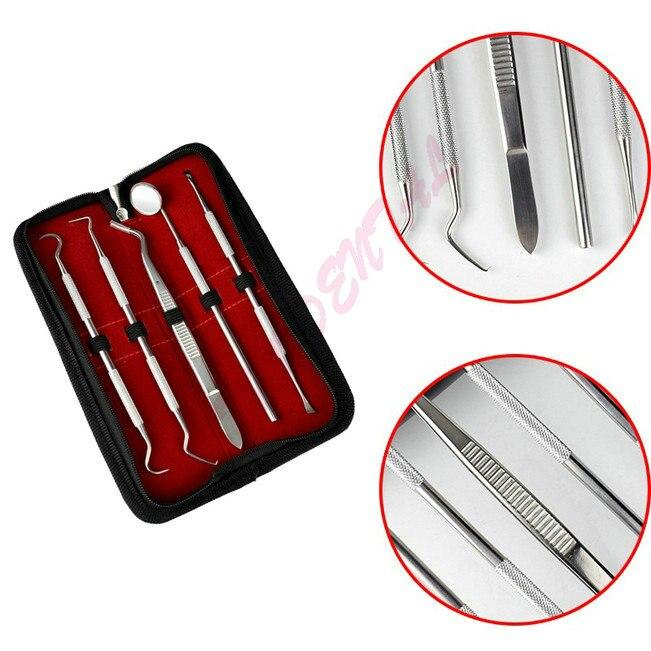 5pcs Professional Stainless Steel Dental Tool Dentist Teeth Clean Hygiene Explorer Probe Hook Teeth Care Kits Teeth Whitening